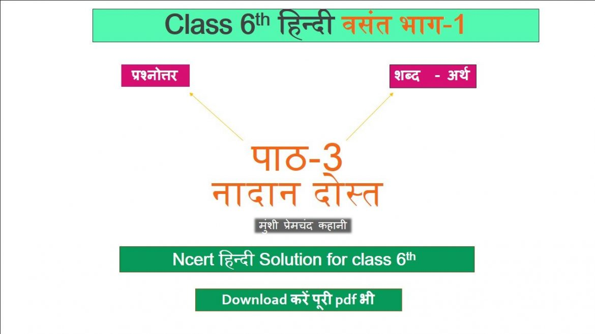 ncert solutions for class 6 hindi chapter -3 नादान दोस्त